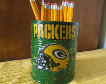 FOOTBALL PENCIL HOLDER  KF112/Pencils/Pens/Brushes/Candy/Money/Gift Holder (Green Bay Packers Fabric)