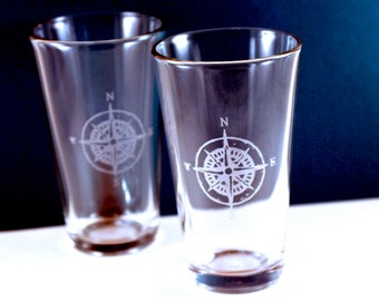 2 Compass Etched Pint Glasses
