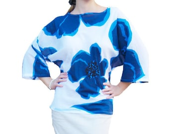 Cotton Blue Flowered Blouse || Loose Fit White Blouse || Bias Cut Blouse || Bet-Wings White Blouse || Batiste Loose Blouse