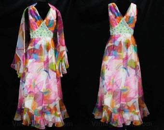 Size 4 Tropical Diva Dress - 1960s 70s Summer Evening Gown - 70s Glam Sleeveless Pink Orange White Floral Chiffon with Beaded Waist - 49066
