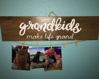 Grandkids make life grand wall hanging. Grandmom gift. Grandparent gift. Wood tile. Handpainted.