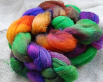 handdyed Roving, 100% Polwarth, colour rust and roses , 100g/3,5oz