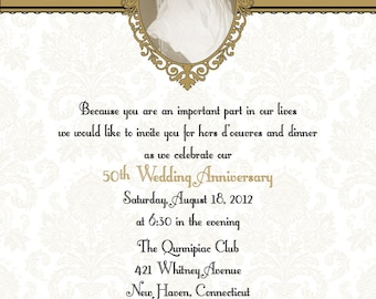 Damask 50th or 25th anniversary wedding invitation diy print damask 50th or 25th anniversary wedding invitation diy print yourself picture frame w rsvp solutioingenieria Gallery