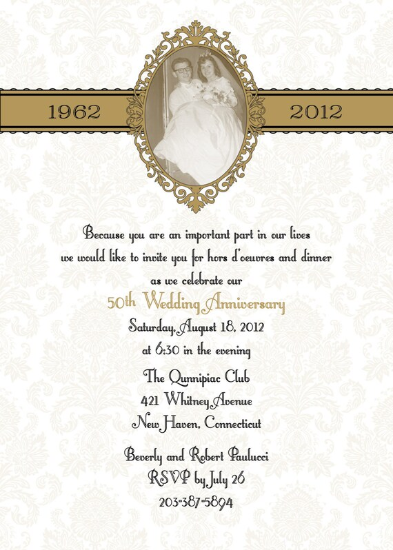 Damask 50th or 25th anniversary wedding invitation diy print like this item solutioingenieria Gallery