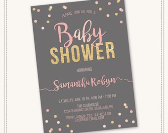 40% OFF SALE Pink and Gold Baby Shower Invitation Girl Baby Shower. Gold Glitter. Pink and Gold Stripes. Printable Digital.