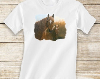 Bay Mare and Foal on Short or Long Sleeve White T-Shirt - Horse and Equestrian Clothing for Toddlers
