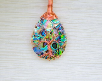 Tree of Life Necklace, Inspirational Necklace, bohemian jewelry, Abalone Necklace, 7th Anniversary Gift for Women, Mom Birthday Gift