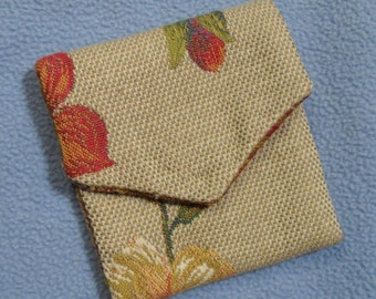 "Handmade Purse Pouch 3 .75"" x 4""- Hand-sewn From Vintage Repurposed Fabrics! Velcro Closure"