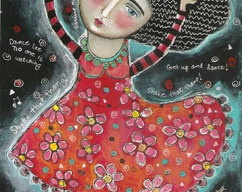 Special Price Free Shipping Mixed Media Folk Art Painting Print  Dance