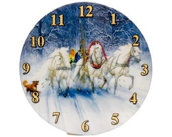 "Wall Clock - ""Troyka"" - Epoxy Glossy Covering"