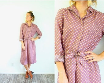 15% OFF MEMORIAL DAY sale Vintage checkered pink purple checkered 1960's style summer dress // gingham checkered plaid picnic dress // long