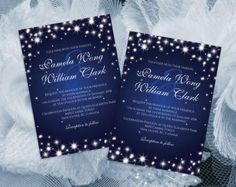 DIY Printable Wedding Invitation Card Template | Sparkly | Editable MS Word file | 5 x 7 | Instant Download | New Years Sparkles Royal Blue
