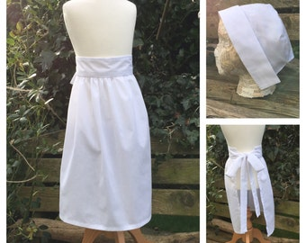 Ready to Post Childs White Apron and Bonnet Maid, Puritan, Victorian Costume