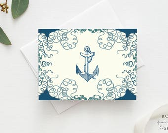 Greeting Card Anchor // Birthday Card, Invitation Card, Nautical Style, Beach Theme, Baby Shower, All Occasion, Octopus, Blue, Green