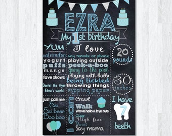First Birthday Chalkboard Sign, Boy Birthday Chalkboard Poster, Blue Chalkboard Sign, Baby Birthday Chalkboard Sign, photography prop, stats