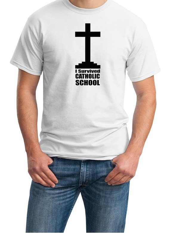 I Survived Catholic School - Mens T-Shirt (White or Ash Colors)