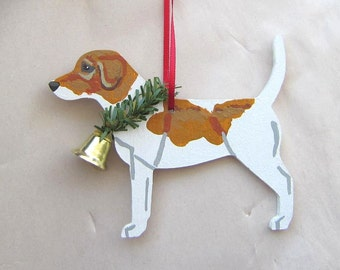 Hand-Painted BEAGLE RED/WHITE Wood Christmas Ornament...Artist Original, Christmas Tree Ornament Decoration