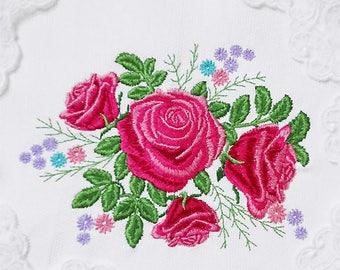 Garden roses Machine Embroidery Design - 2 sizes