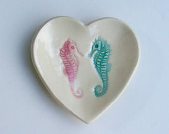 "Valentine,Ceramic Heart Plate, Seahorse 3 1/4"", Hand Built Handpainted"
