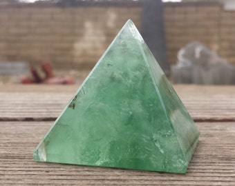GREEN FLUORITE natural large gemstone crystal pyramid 51mm [21]