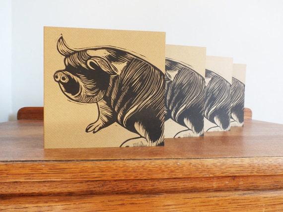 pig linocut card - blank greeting cards set of 4 - kune kune pig - hand printed - Kat Lendacka - brown kraft cards - free postage in UK
