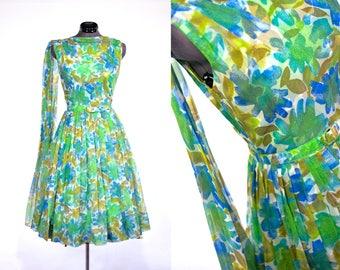 1950s Green, Blue, Gold Floral Sleeveless Vintage Party Dress  VIVA LAS VEGAS
