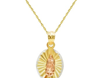 14K Tri Color Gold Virgin Mary Guadalupe Charm Pendant Necklace