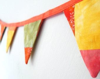 patchwork bunting, mini bunting.  Orange yellow bunting, handdyed fabric bunting.