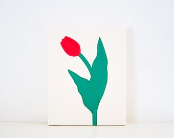 TULIP - Ivory & Red Tulip PAINTING - - Flower Art - Red Tulips Decoration - Red Tulip Artwork - Red Tulip Print Red Flower Wall Art