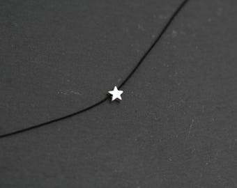 Silver star choker, sterling silver star choker, silver star necklace