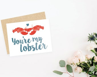You're My Lobster greeting card inspired by FRIENDS / blank inside / Valentine's Day