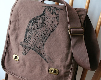 Owl Field Bag Canvas Screen Printed
