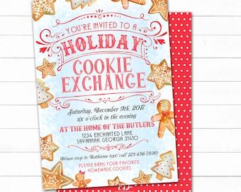 Cookie Exchange Invitation, Cookie Swap Invite, Christmas Cookie Party, Christmas Party Invite, Holiday Cookie Exchange, Cookie Swap Invite