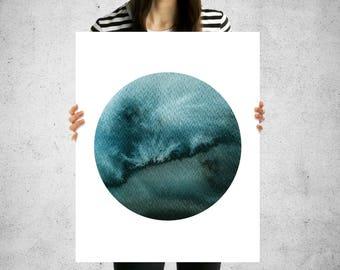Circle Ocean watercolor digital art print 11x14 and 16x20 abstract instant download ocean watercolor printable wall art big circle art