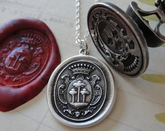 Tree of Life Wax Seal Necklace - antique wax seal charm jewelry with crest by RQP Studio