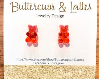 Red Gummy Bear Stud Earrings