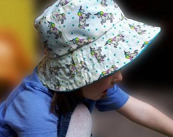 Reversable unicorn bucket hat
