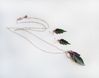 Leaf Earring & Necklace Set (Fairy Jewelry)