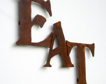 "Eat wall art sign steel metal 18"" wide - earth tone rust patina - choose your color - metal wall art - rust accents patina - eat sign"