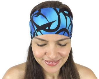Yoga Headband Workout Headband Blue Yoga Headband Running Headband Boho Wide Headband No Slip Headband Hippie Headband Wicking Headband S101