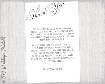 "Printable Thank you card template black & white wedding thank you cards ""Parfumerie"" Script DIY wedding printable YOU EDIT instant download"