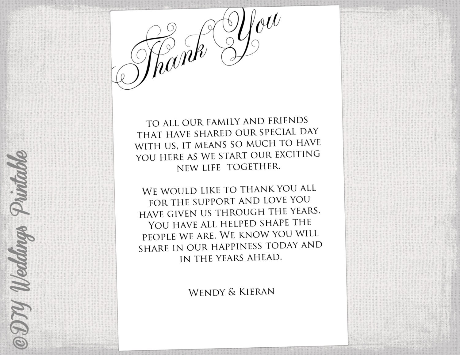 Printable Thank you card template black white wedding thank