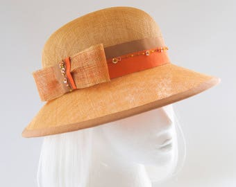 Gold Straw Hat. Airy Sinamay Summer Hat. Feminine, Wide-Brim Dress Hat. Orange, Tan, Sequin Beaded Trim. Women's Church Hat. Fine Millinery