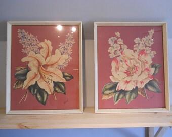 Set of framed stargazer lilly and peony prints