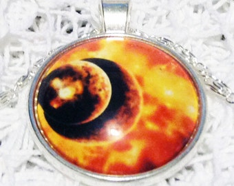 Fire Galaxy Necklace White Jewelry GALACTIC SUPER VOLCANO Gift