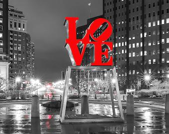 Philadelphia Love Park Black And White (12x36) Panoramic,Canvas Art,Art on Canvas,Prints,Center City.