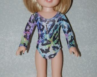 Gymnastics Leotard Doll Clothes Colorful animal print  handmade for 14.5 inch Wellie Wishers tkct930