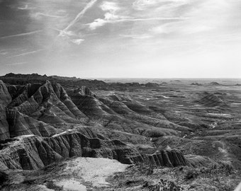 Large Landscape Photography, South Dakota Badlands, Nature Photography, Black and White Film, Desert Decor, Fine Art Print, Sturgis Decor