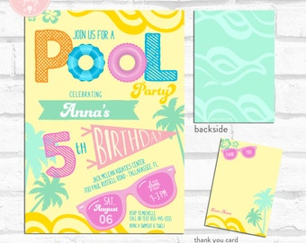 Pool Party Birthday Invitation Kit - Invite AND Thank You Card included