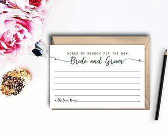 Printable Wisdom Card, Wedding Wisdom Cards, Reception Decor, Words of Wisdom card